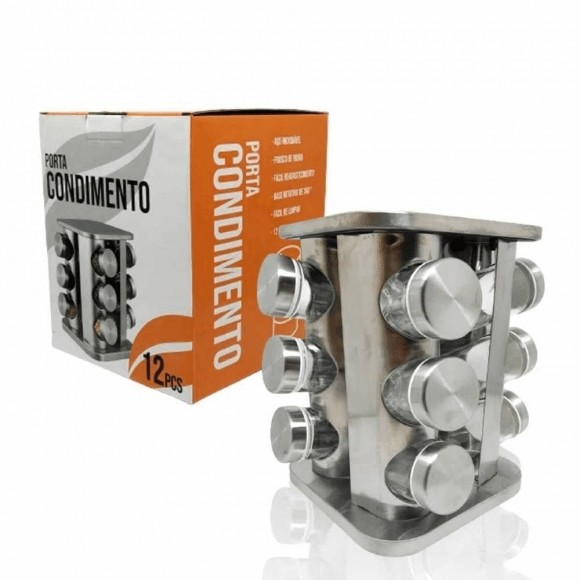 PORTA CONDIMENTO INOX/VDO QUADD 12 TEMPEROS