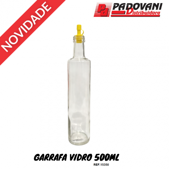 GARRAFA VIDRO 500ML LISA REDONDA